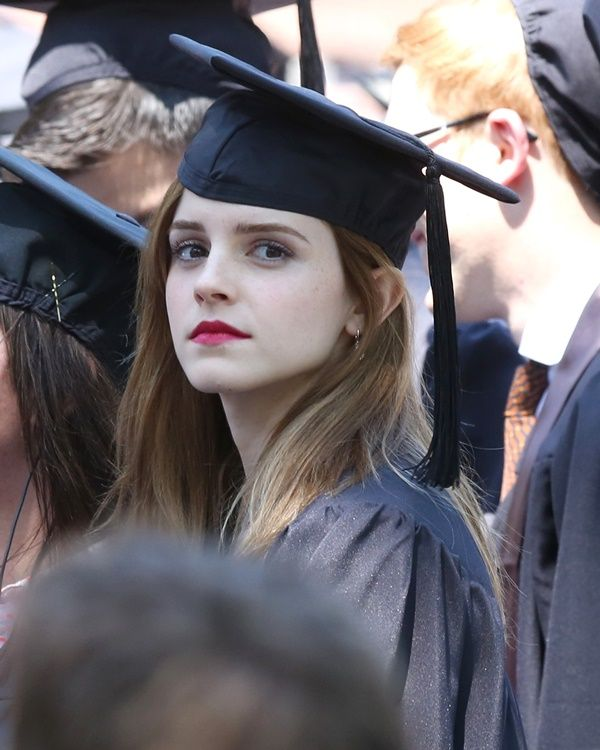 Harry Potter\' actress Emma Watson, in cap and gown, attending Brown ...