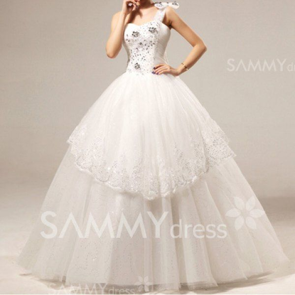$172.20 Charming One Shoulder Rhinestoned and Sequined Design Women's Layered Bowknot Wedding Dress