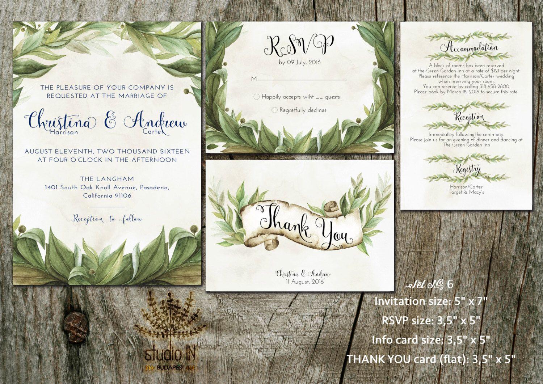 Green Wedding Invitation, Rustic Wedding, Invite Calligraphy, Rustic Green  Floral Wedding, RSVP