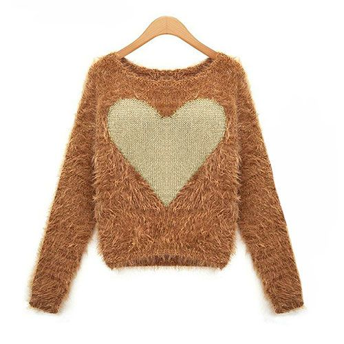 grxjy560683]Contrast Heart Graphic Fuzzy Crewneck Simple Elegant ...