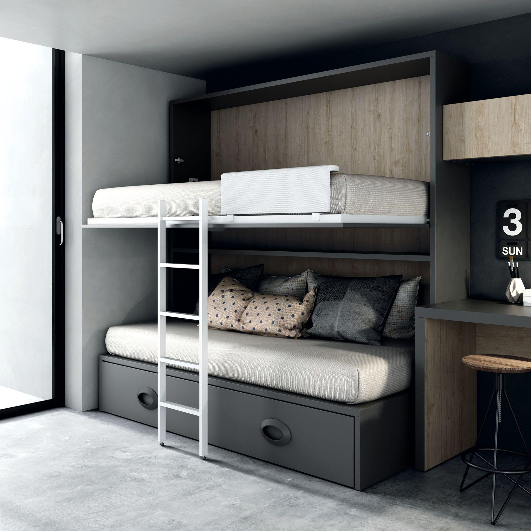 Pin de arista mobiliario en camas para dormitorios con poco espacio pinterest literas - Literas para habitaciones pequenas ...