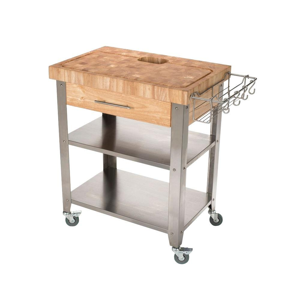 Chris And Chris Pro Stadium Stainless Steel Kitchen Cart With Chop