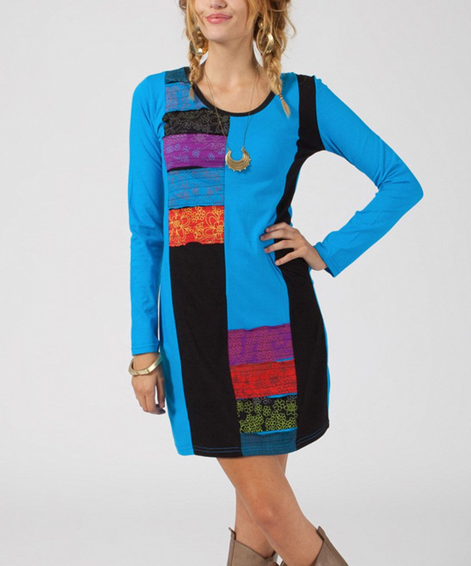 This Mode Femme Blue & Black Patchwork Stripe Scoop Neck Dress by Mode Femme is perfect! #zulilyfinds