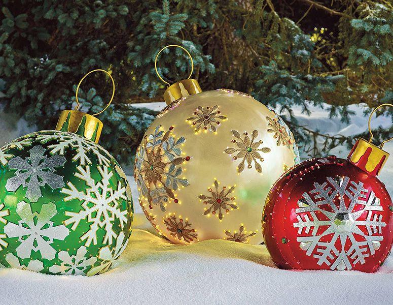 Decorating Ornament Balls Massive Fiberoptic Led Outdoor Christmas Ornaments  Holidays