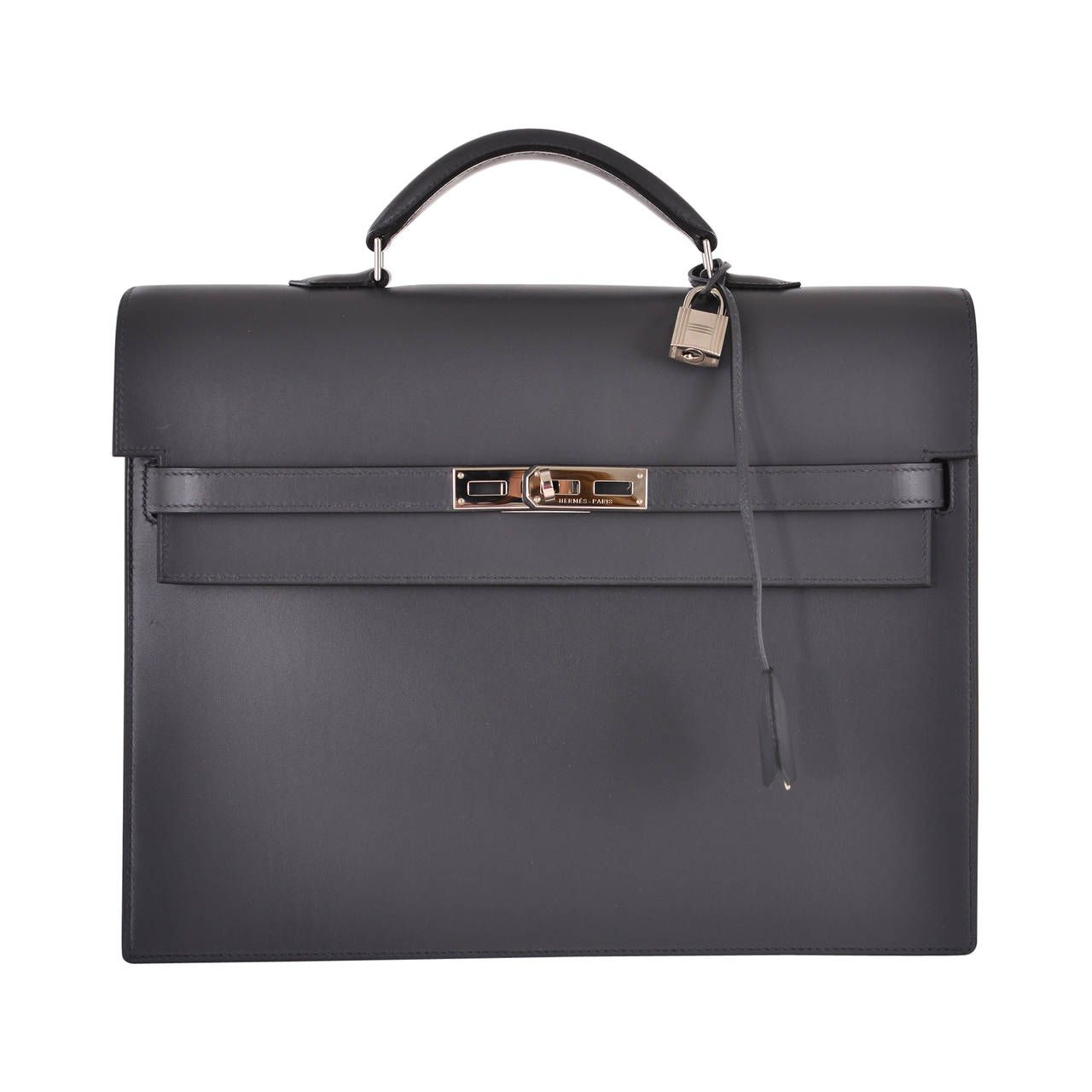 a1a0a255a4a HERMES ARDOISE CALF BOX LEATHER DEPECHES PM BAG PALLADIUM HARDWARE  JaneFinds   From a collection of