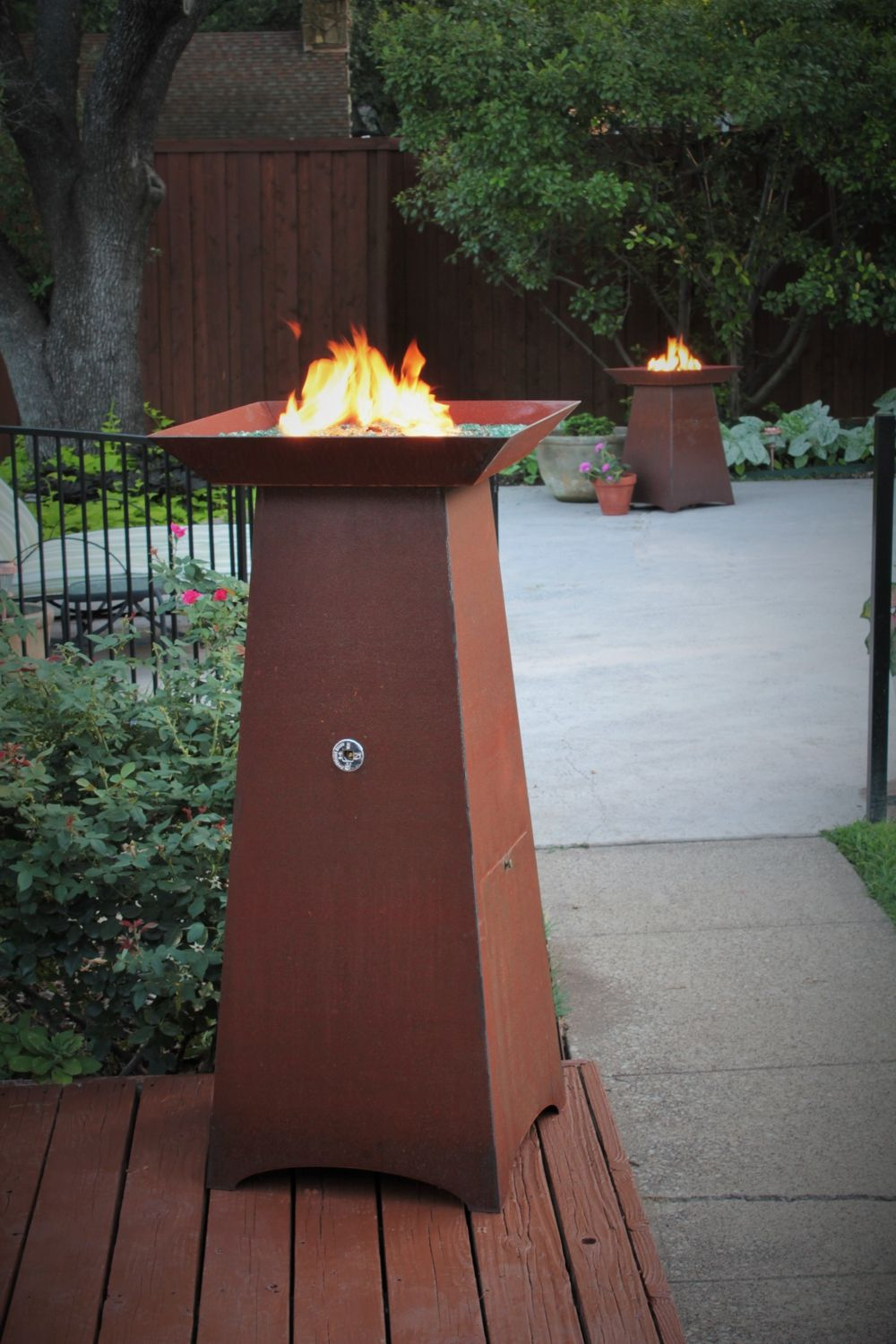 50 Inch Tall Hidden Tank Fire Column Glass Fire Pit Modern Fire