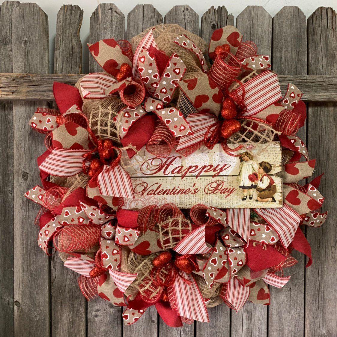 Happy Valentines Day Kranz - Valentinstag Kranz - Valentinstag Kranz - Red De ... #valentinesdaydecorations