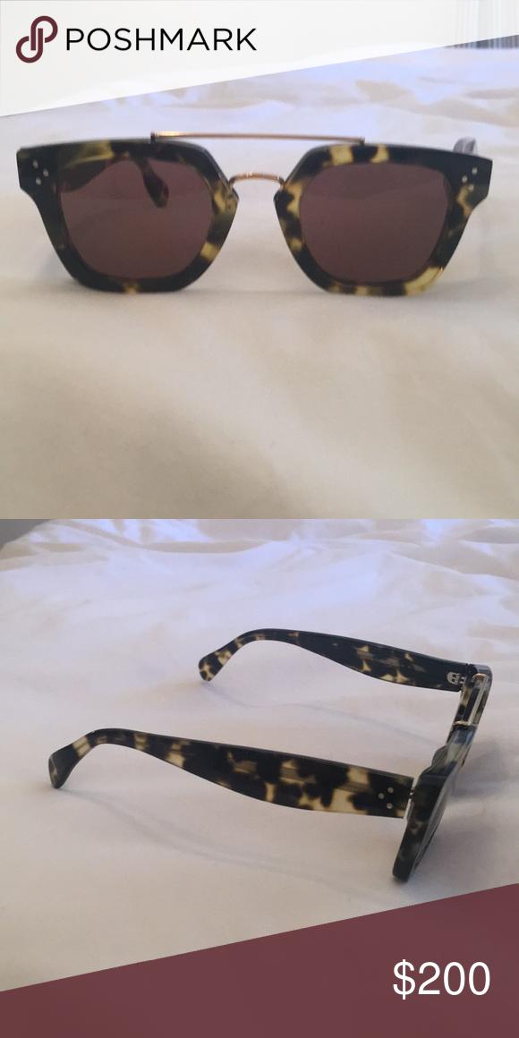 076c6ba068 Céline sunglasses Olive tortoise shell With black suede case Celine  Accessories Sunglasses