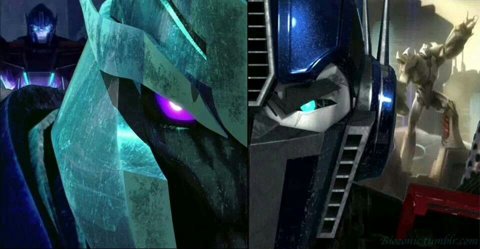 Transformers Prime: Megatron and Optimus Prime split with Orion Pax and Megatronous, amazing fan art.
