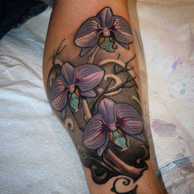 Orchid flower tattoo on calf jeff norton atascadero ca for Can fbi agents have tattoos