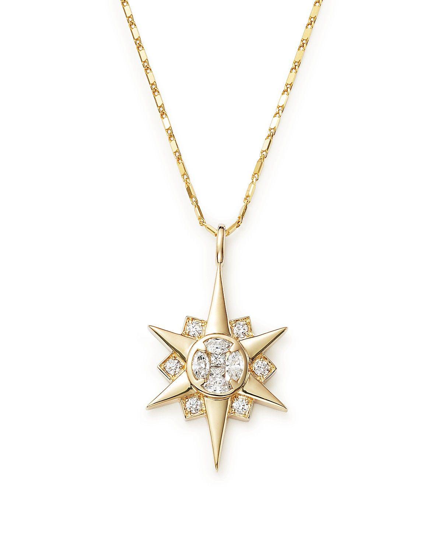 9db4573ae Diamond Starburst Pendant Necklace in 14K Yellow Gold, .50 ct. t.w. ...