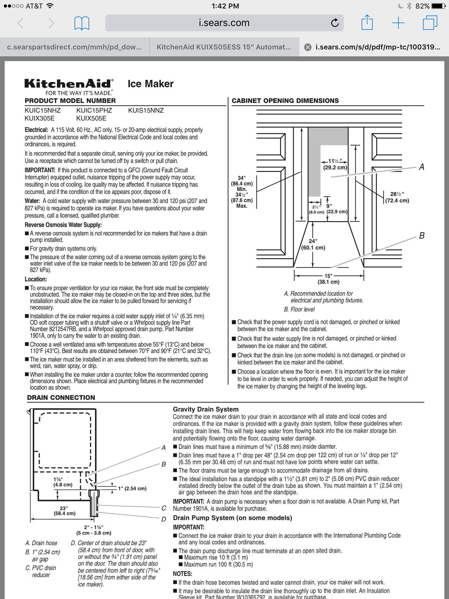 Kitchen aid ice maker 15inch kuix505essi ice maker