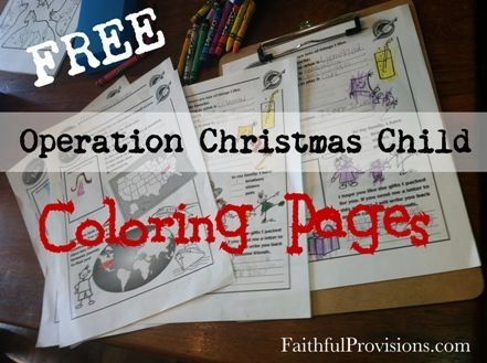 Free Coloring Pages for Operation Christmas Child Shoeboxes ...