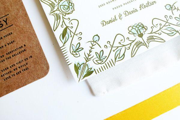 Floral Letterpress Birth Announcement 42Pressed3 Theas Folk Art Inspired Floral Birth Announcements