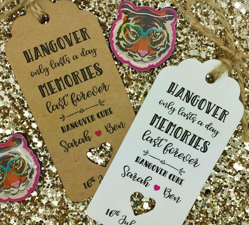 HANGOVER KIT Gift Tags, Wedding ALCOHOL Favour, Bottle