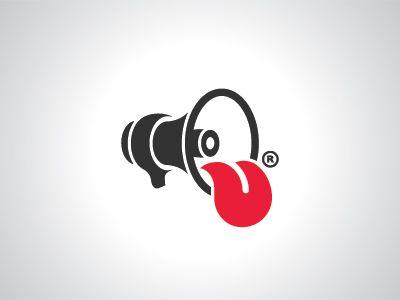Louda rebrand; megaphone with a tongue
