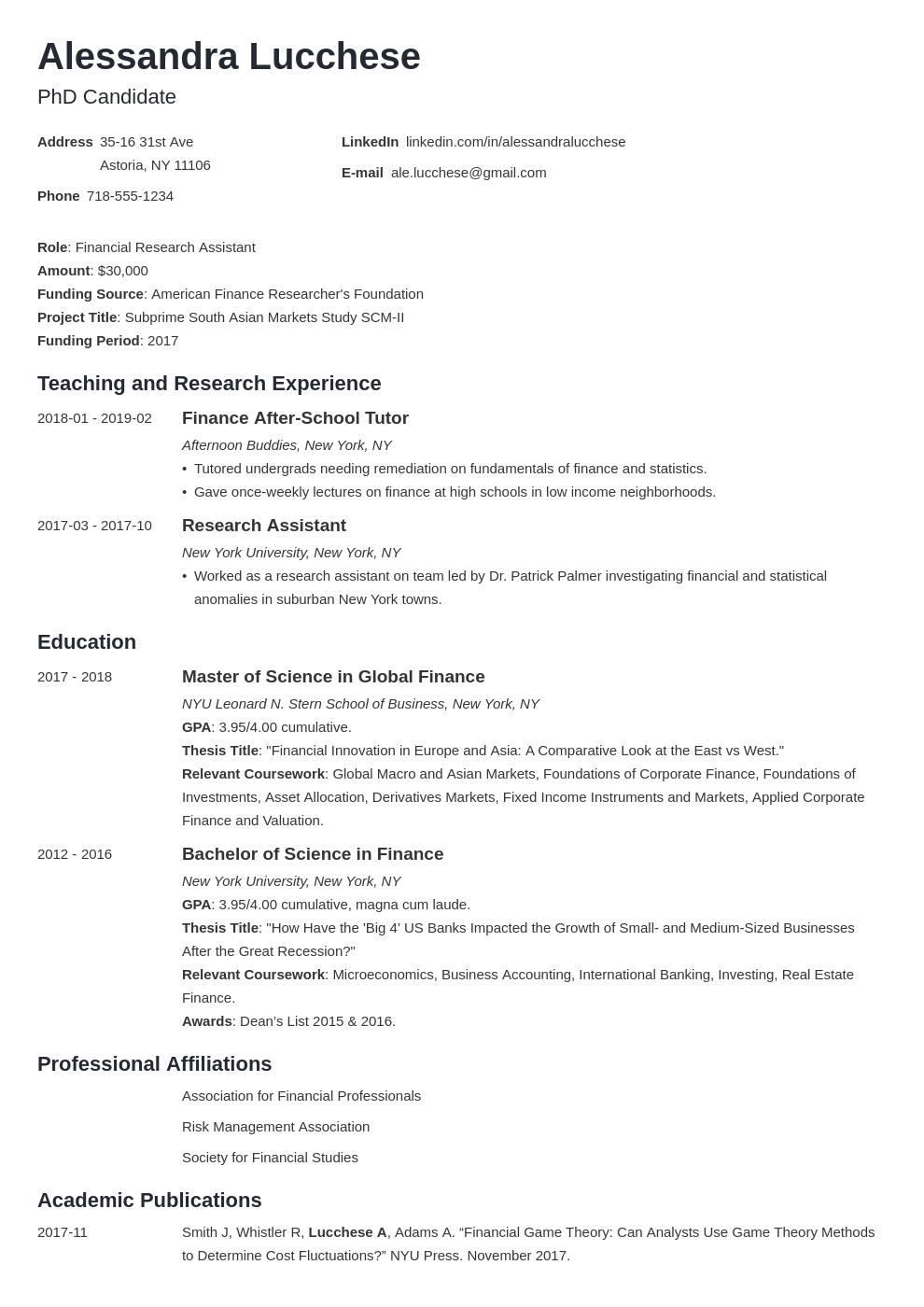 graduate school resume example template minimo in 2020
