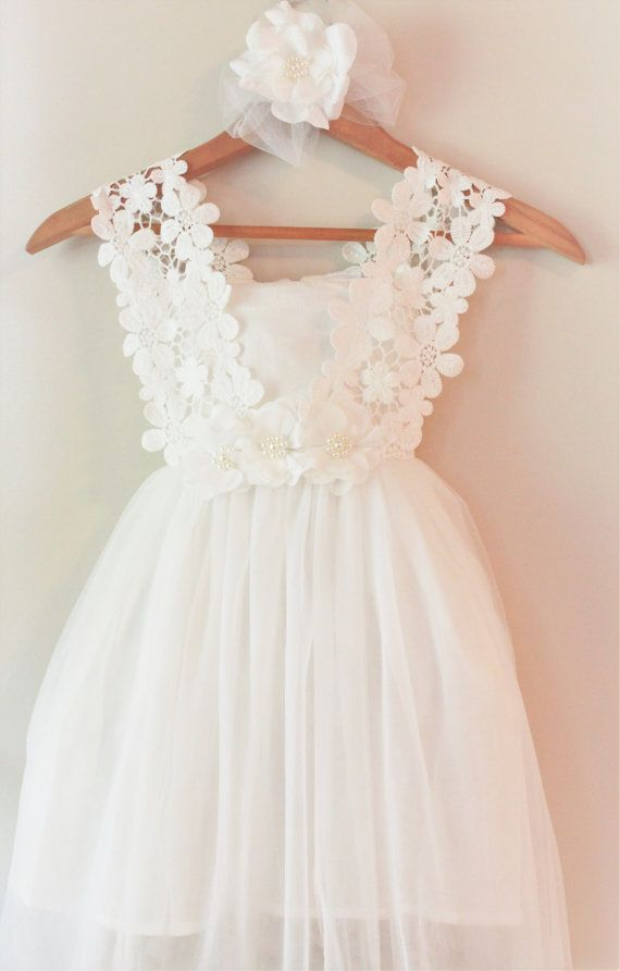 White flower girl dress white lace flower by for Lace flower wedding dress