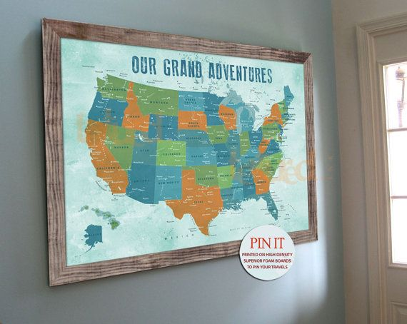 US map, Push Pin Board, Family travel wall, 20X30 Inches ...