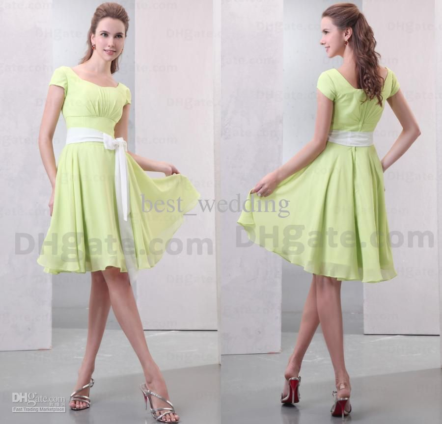 Wholesale Modest short sleeves yellow green