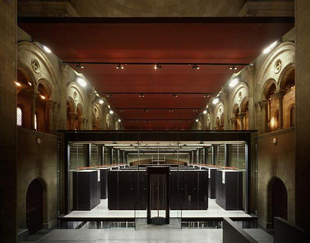 Supercomputer in former chapel in Barcelona - Barcelona Supercomputing Center located in a former chapel Torre Girona.