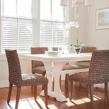 Cottage Dining Room  Trestle Dining Table With Wicker Dining Best Wicker Dining Room Sets Inspiration