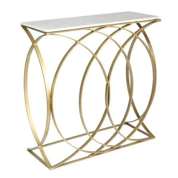 Concentric Circle Design Console Table Gold Finish