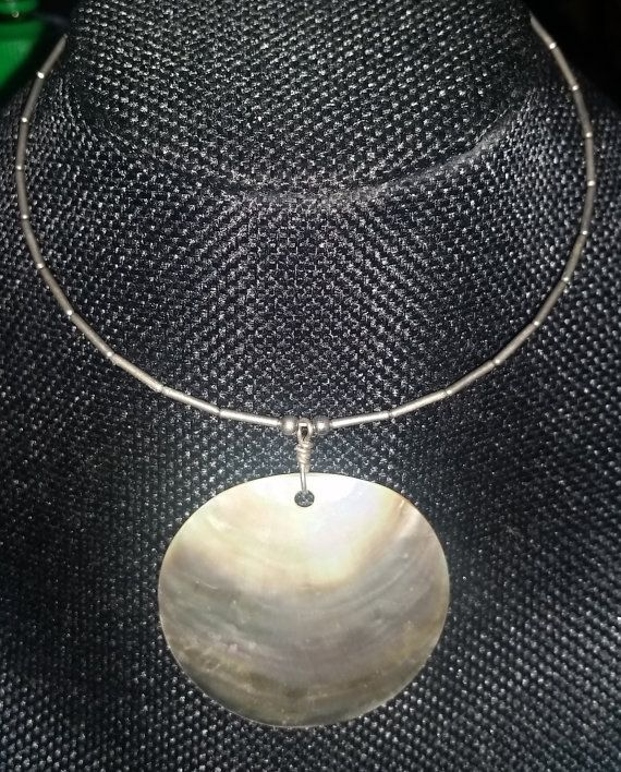 Silver Toned Wire Choker Necklace with Large by RAVsLostAndFound
