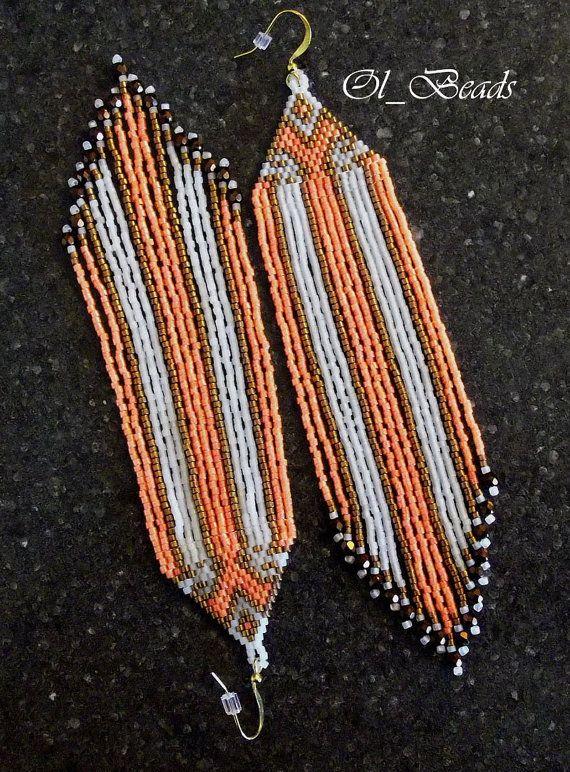 Native American Style Earrings Orange Beaded Earrings by