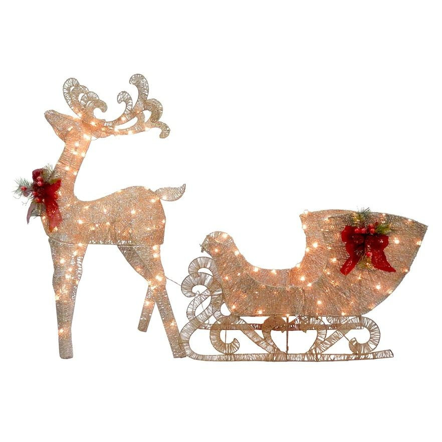 National Tree Company Light-Up Reindeer & Sled Indoor / Outdoor Decor, Gold - National Tree Company Light-Up Reindeer & Sled Indoor / Outdoor