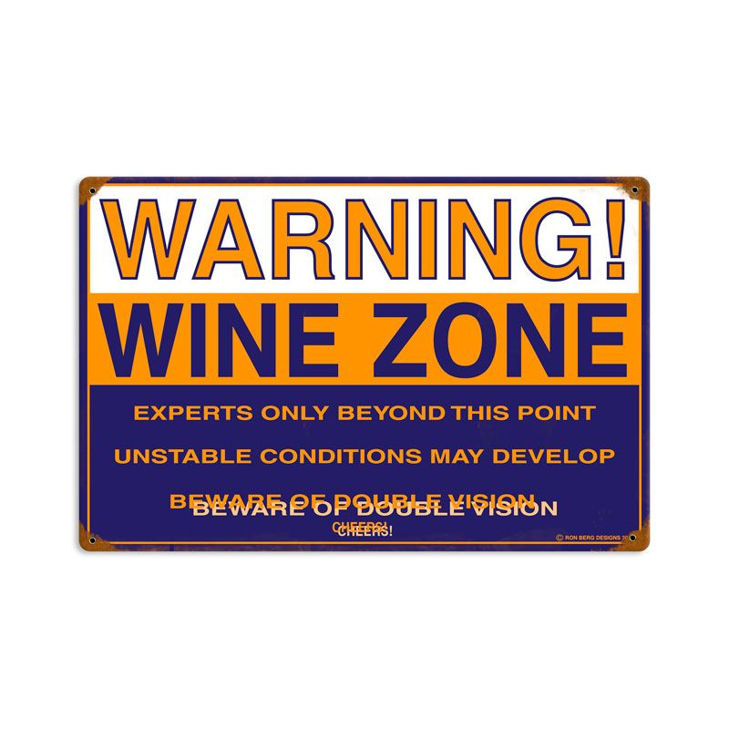From the Ron Berg licensed collection, this Wine Zone vintage metal sign measures 18 inches by 12 inches and weighs in at 2 lb(s). We hand make all of our vintage metal signs in the USA using heavy...