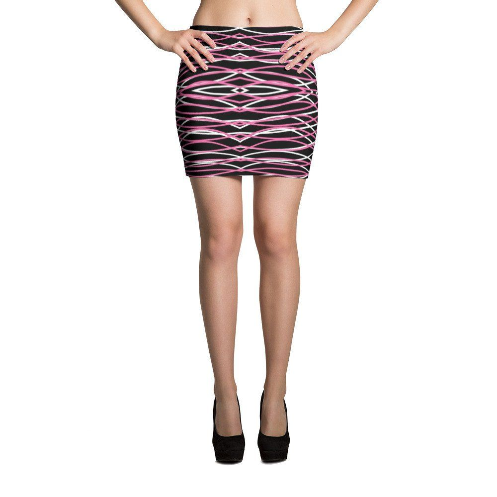 Pink and White Patterns Black Mini Skirt