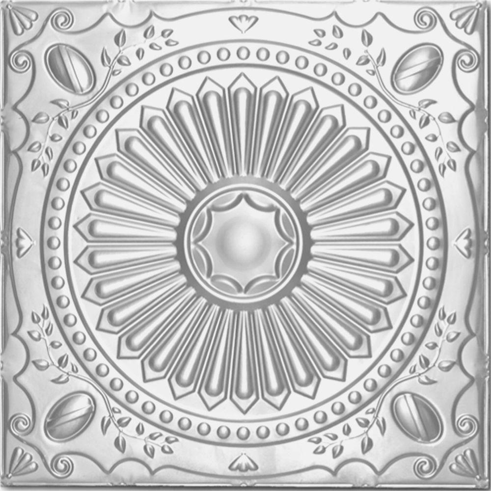 Shanko 2 Ft X 2 Ft Clip Up Tin Ceiling Tile In Clear Lacquer 24 Sq Ft Case Ceiling Tiles Tin Ceiling Tiles Tin Tiles