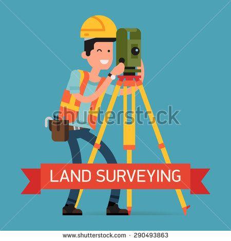 Cool land surveying concept design with civil engineer surveyor - civil engineer