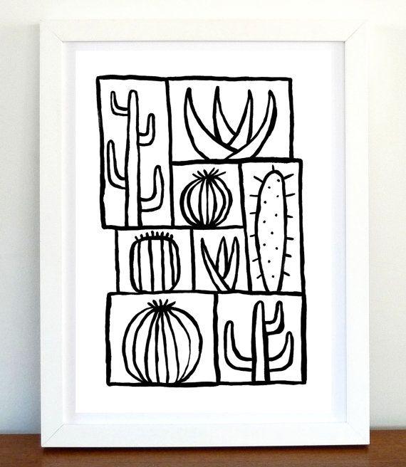Wall art Original Drawing Original Illustration House Decor Office decor Ink Art cactus drawing Handmade drawing Ink Drawing