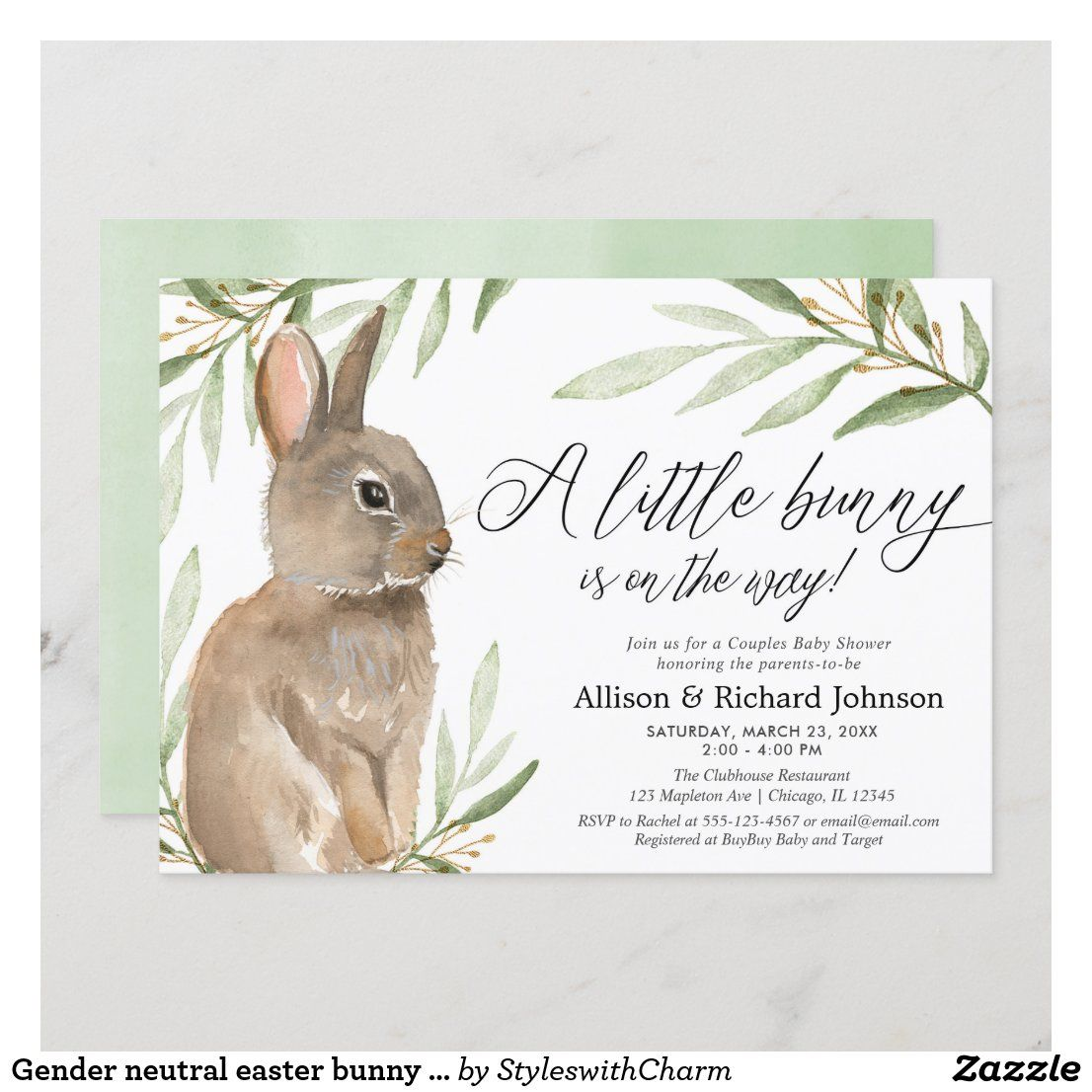 Gender Neutral Easter Bunny Couples Baby Shower Invitation Zazzle Com In 2021 Couples Baby Shower Invitations Bunny Baby Shower Easter Baby Shower