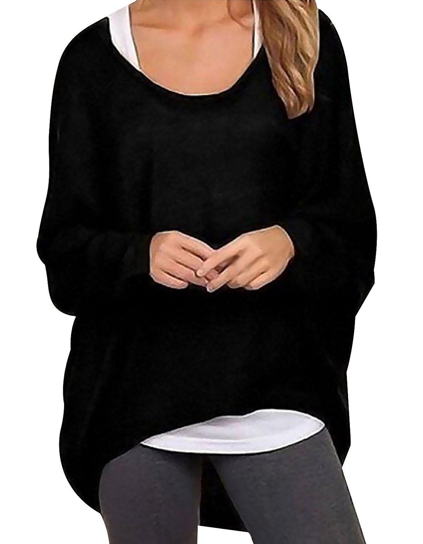 fe5dd971da662 Womens Casual Oversized Baggy Off Shoulder Shirts Batwing Sleeve ...