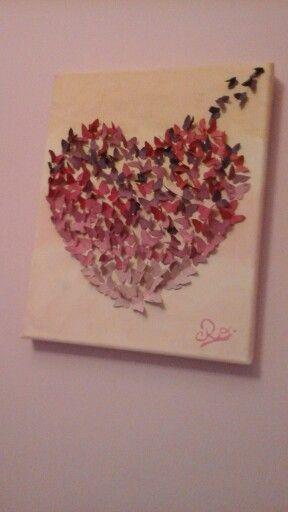 Cuadro  con  mariposas  pintado