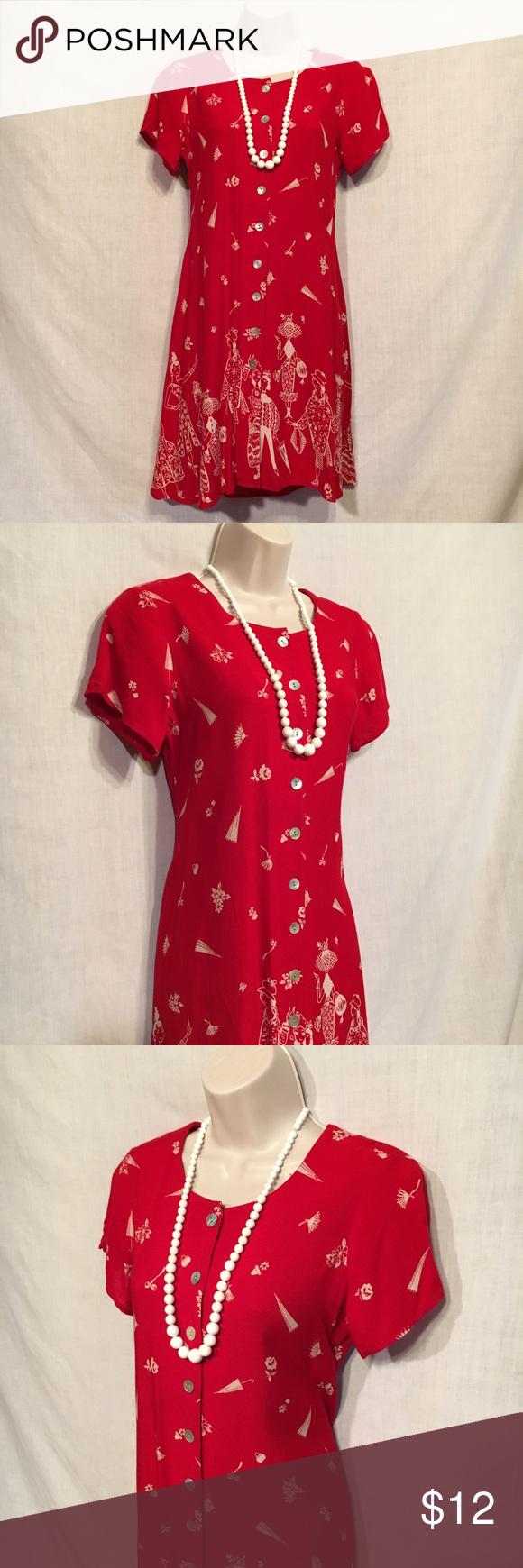 Coldwater creek red dress unique design scoop neck short sleeve