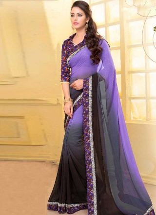 3a18b1983a3d39 Lavender Grey Printed Patch Border Lace Work Georgette Designer Casual Saree  http://www