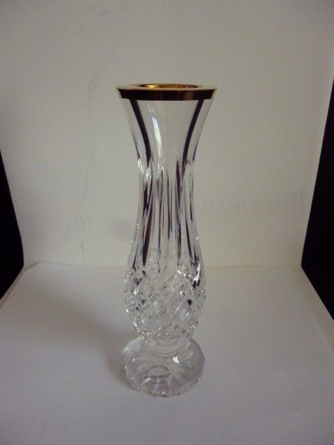 Wedgwood Full Lead Crystal Bud Vase With Royal Gold Rim Etched