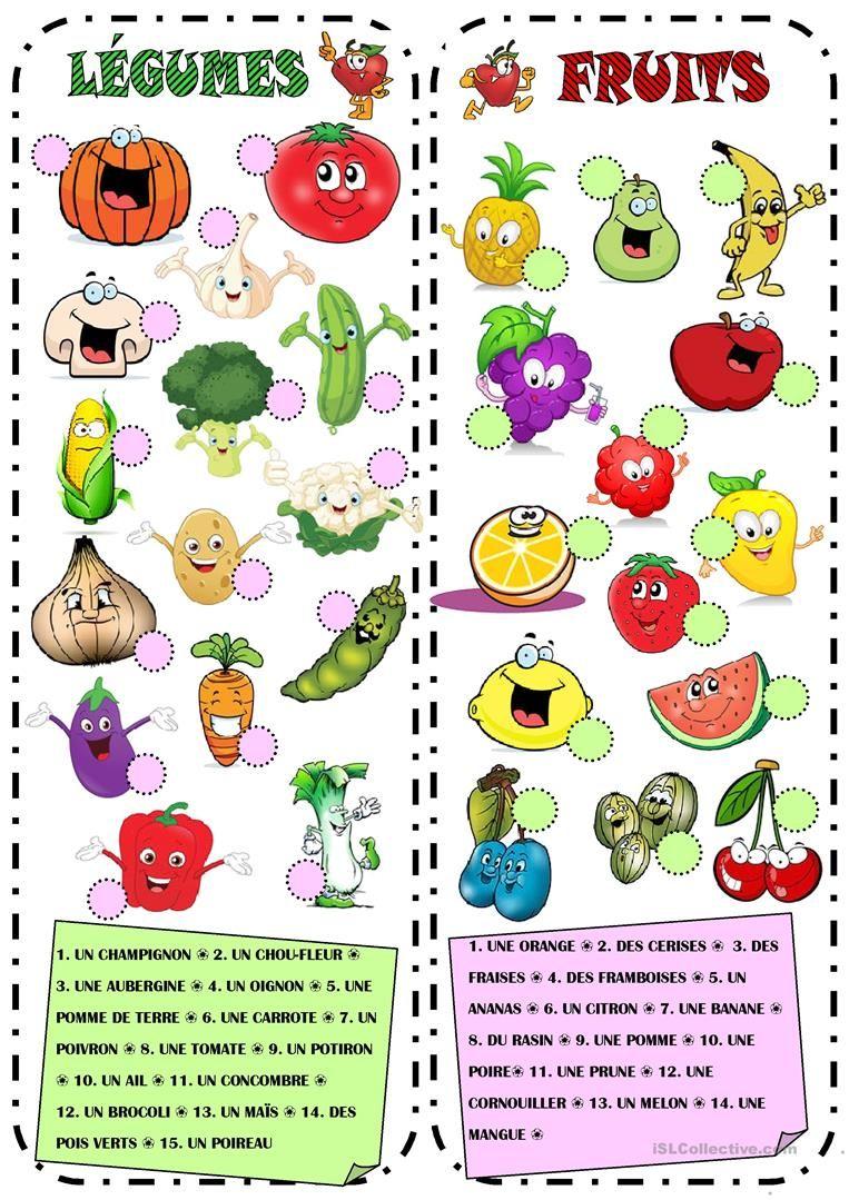 Fabuleux Fruits & Légumes fiche d'exercices - Fiches pédagogiques gratuites  DH61