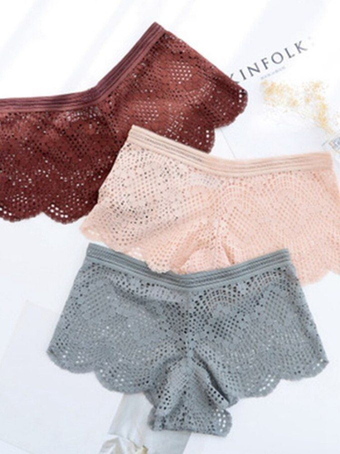 bbd79edb7b5d Sexy Women Low Waist Solid Color Mesh Briefs Underwear Lace Transparent  Thong Panties Soft Breathable G