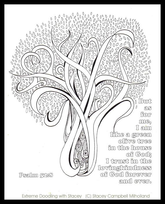 olive tree coloring page digital download psalm 528 - Psalm 8 Coloring Page
