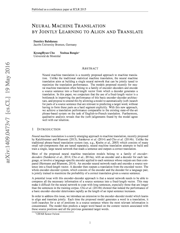 Neural Machine Translation By Jointly Learning To Align And Translate Bahdanau Cho Bengio Alignment Google Research Papers