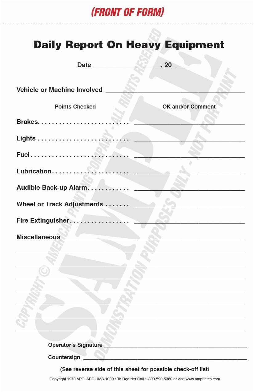 Daily Equipment Inspection Form Lovely Heavy Equipment Inspection