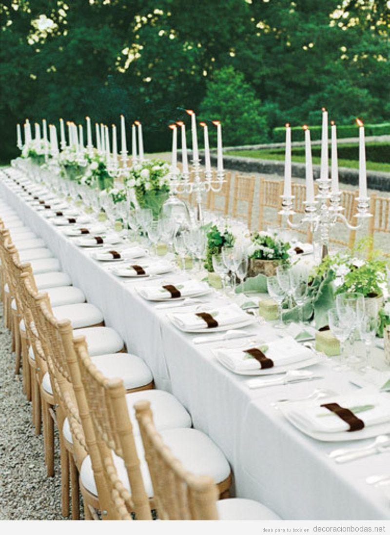 decoracin de mesa larga de boda elegante y sencilla en jardn