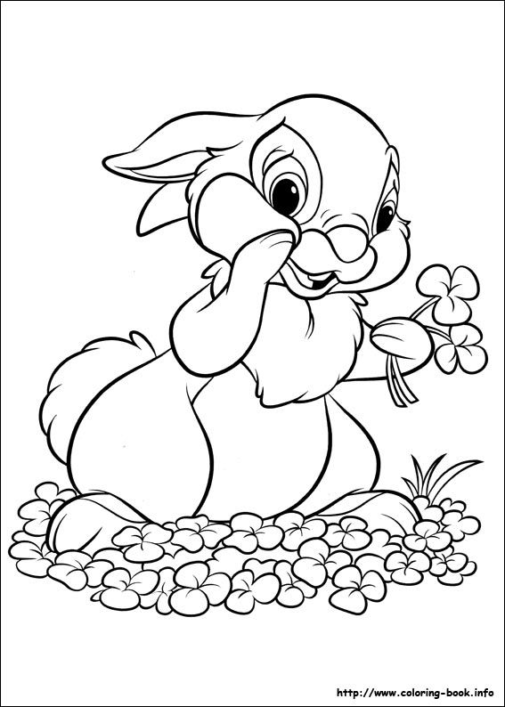 Disney Bunnies coloring picture Bambi and Thumper Pinterest - best of minecraft coloring pages bunny