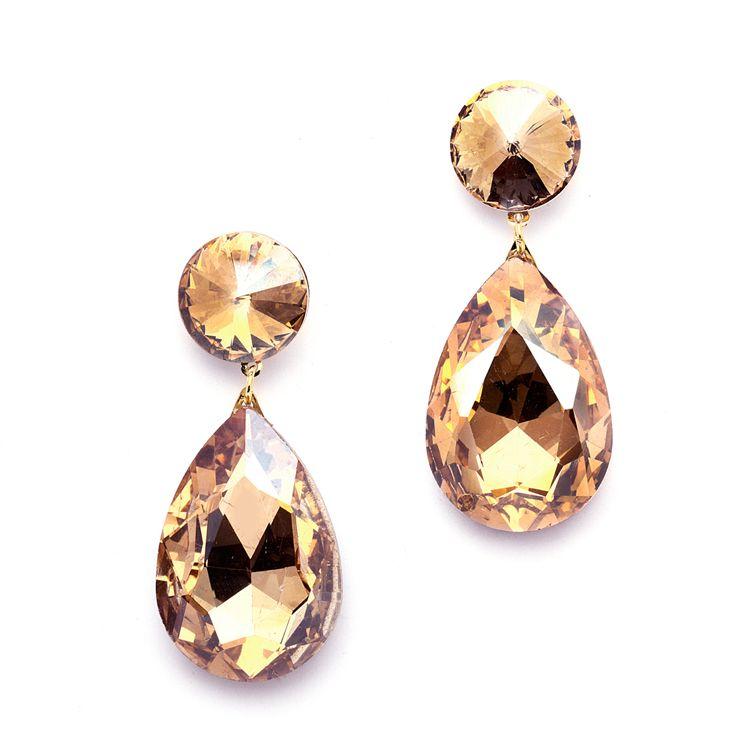Golden Brown Crystal Teardrop Earrings