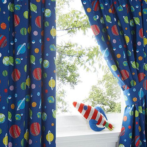 this kidu0027s curtain set has a blue space pattern and comes complete with tie backs